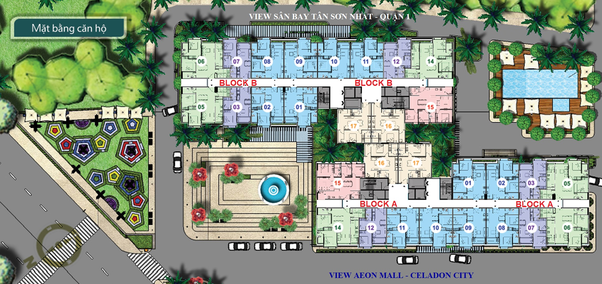 Mặt bằng thiết kế tổng thể An Gia Garden Tân Phú ( Block A ,B)