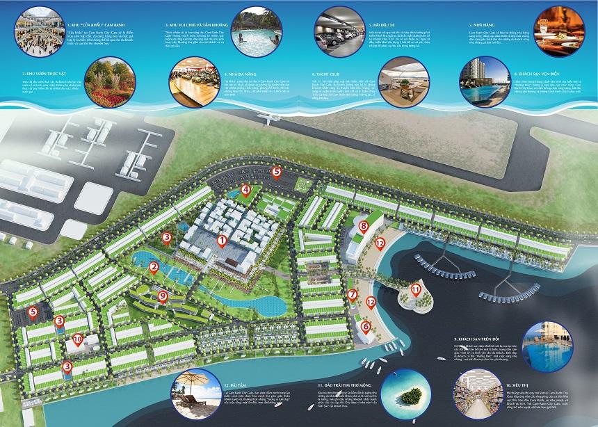 Sơ đồ phân lô tiện ích đất nền biệt thự biển Cam Ranh City Gate Khánh Hòa