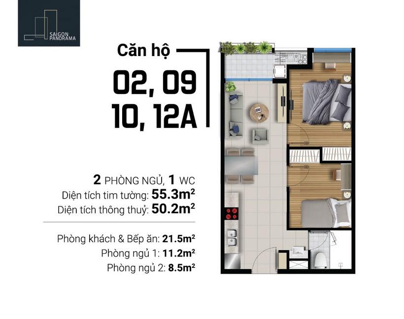 Bán căn hộ 2Pn-1WC  Dự án Căn hộ chung cư River Panorama Quận 7 Chủ đầu tư An Gia