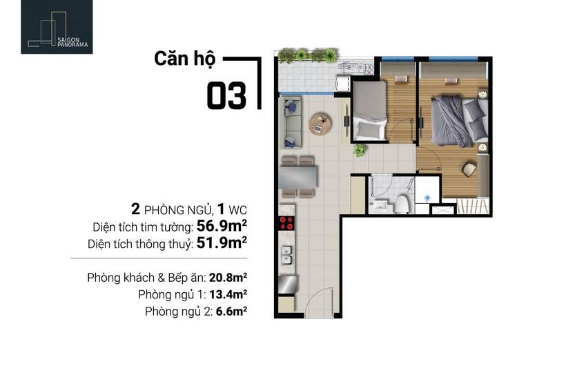 Bán căn hộ 56m2 2Pn-1WC  Dự án Căn hộ chung cư River Panorama Quận 7 Chủ đầu tư An Gia
