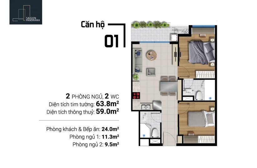 Bán căn hộ 63m2 2Pn-1WC  Dự án Căn hộ chung cư River Panorama Quận 7 Chủ đầu tư An Gia