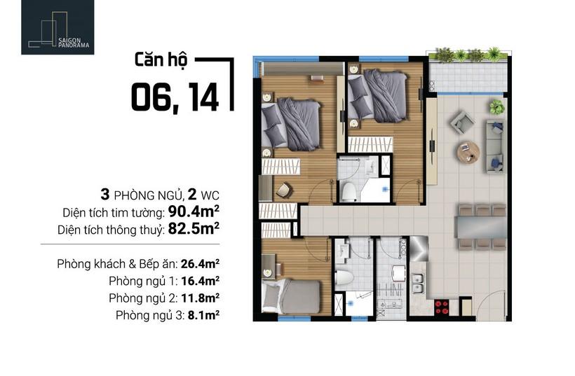 Bán căn hộ 90.4m2 2Pn-1WC  Dự án Căn hộ chung cư River Panorama Quận 7 Chủ đầu tư An Gia