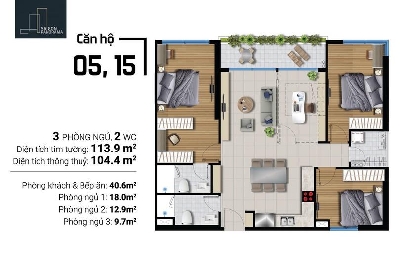 Bán căn hộ 104m2 3Pn-1WC  Dự án Căn hộ chung cư River Panorama Quận 7 Chủ đầu tư An Gia