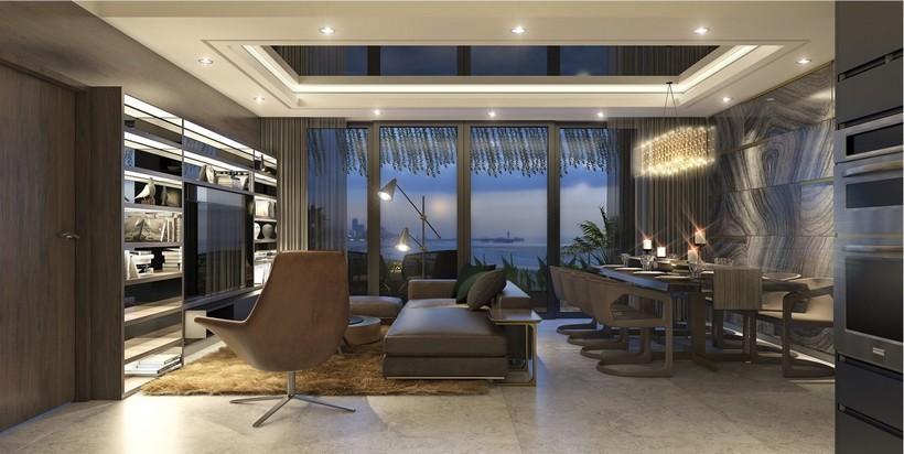 Khu vực phòng khách River Panorama không giới hạn tầm nhìn về Thành Phố và Sông Sài Gòn và hàng nghìn tiện ích
