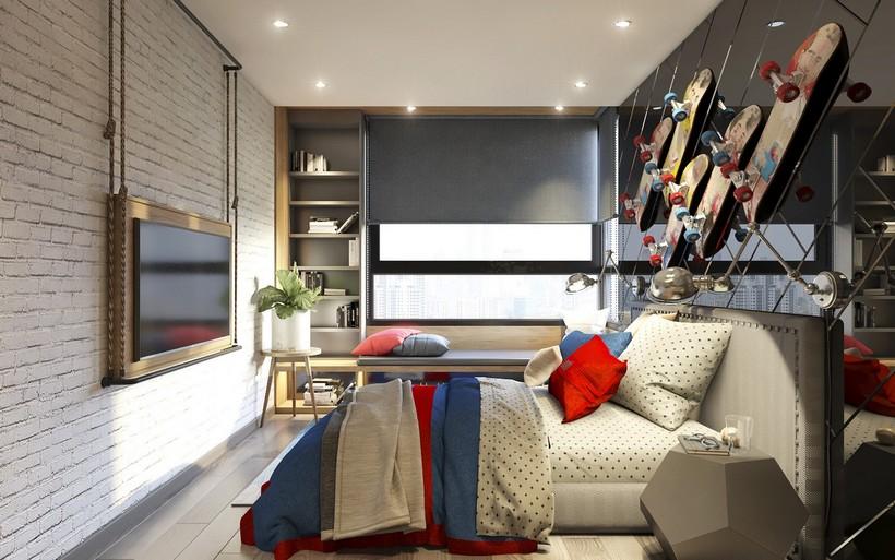 Phòng ngủ căn hộ River Panorama Quận 7 được lót sàn gỗ cao cấp và có cửa lớn