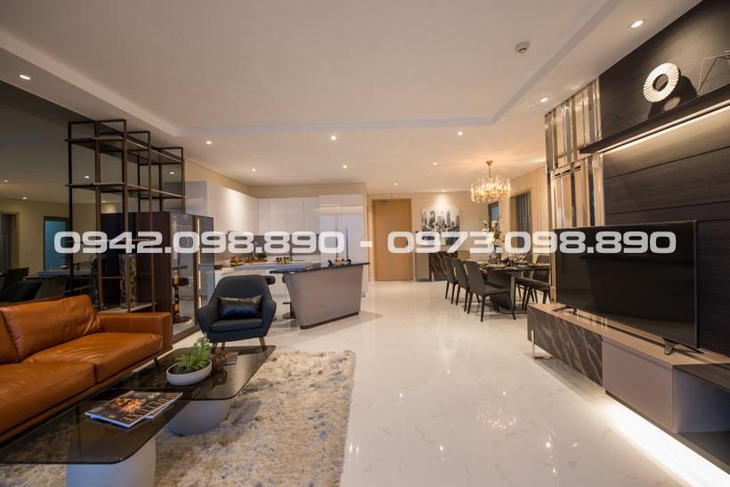 Toàn cảnh phòng khách căn hộ 115m2 AnGia Riverside Quận 7. Mua bán, cho thuê dự án căn hộ chung cư cao cấp An Gia Riverisde