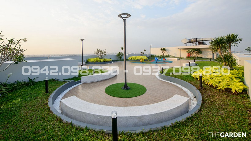 Sân thượng được thiết kế trở thành điêm sáng nhất khu căn hộ cao cấp An Gia Garden Quận Tân Phú