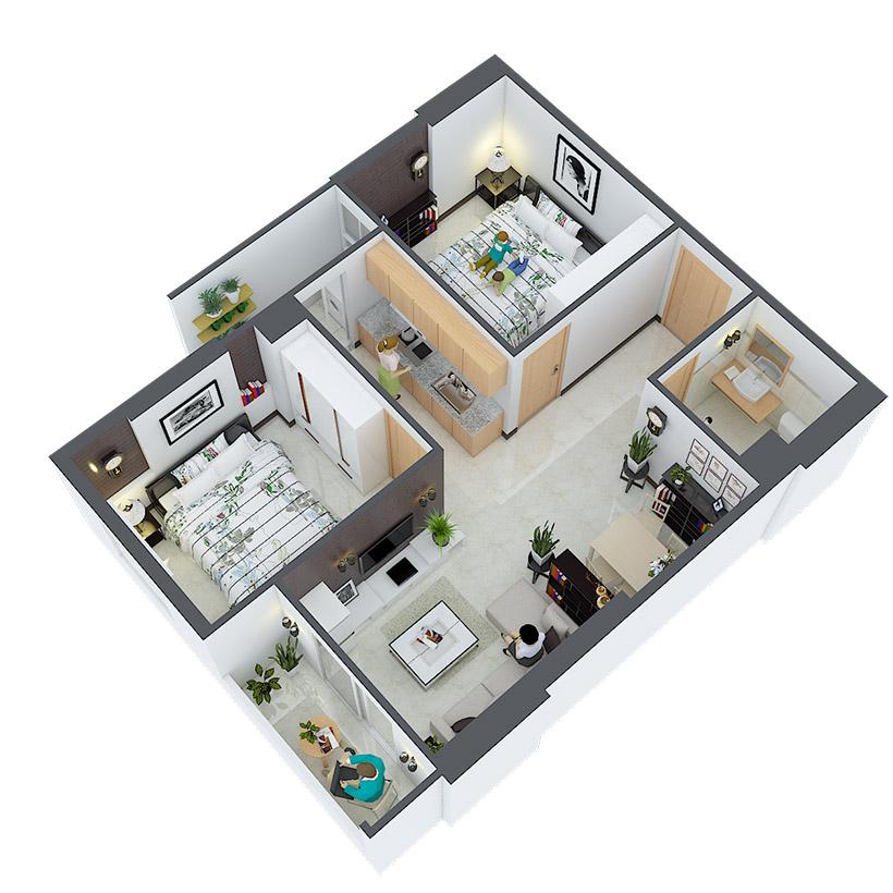Thiết kế căn hộ 03 và 16 Căn hộ Heaven city Quận 8 và văn hộ Heaven River View