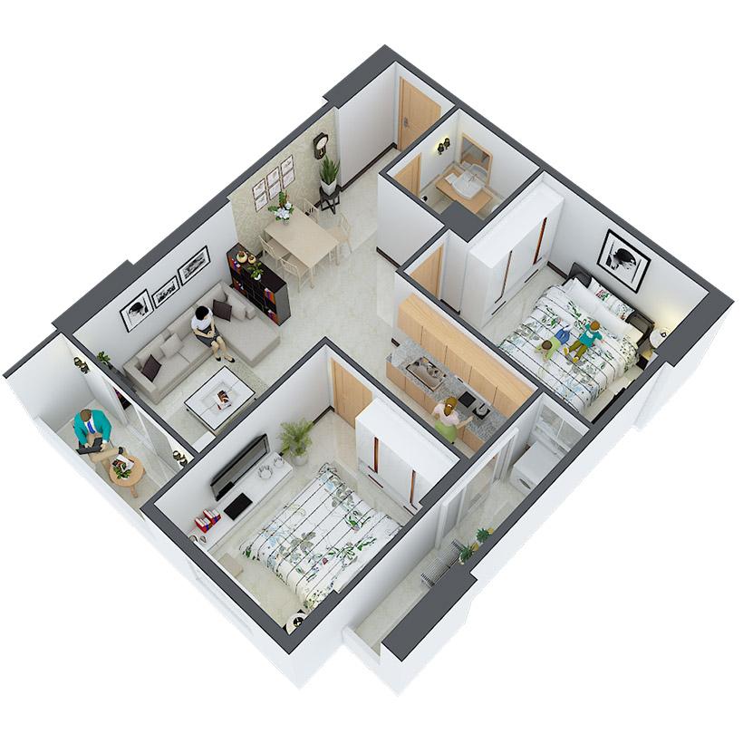 Thiết kế căn hộ 04 và 15 Căn hộ Heaven city Quận 8 và văn hộ Heaven River View