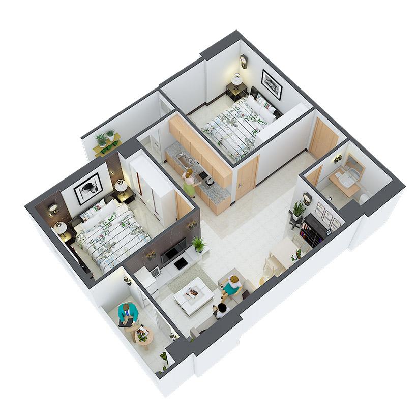 Thiết kế căn hộ 08 và 11 Căn hộ Heaven city Quận 8 và căn hộ Heaven River View. Dự án căn hộ giá rẻ nhất quận 8.