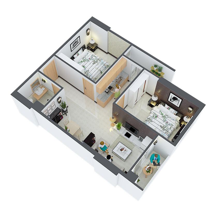 Thiết kế căn hộ 23 và 26 Căn hộ Heaven city Quận 8 và căn hộ Heaven River View. Dự án căn hộ giá rẻ nhất quận 8.