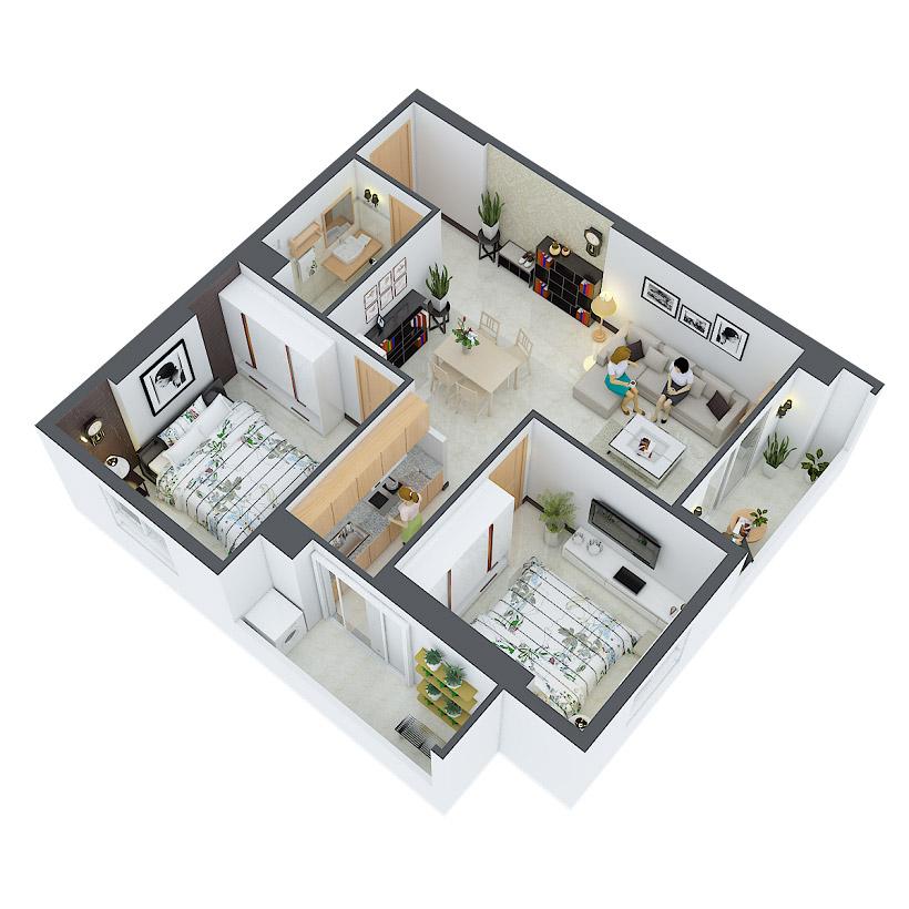 Thiết kế căn hộ Heaven City View - River View Quận 8 - Mã căn hộ 01,18,19,30