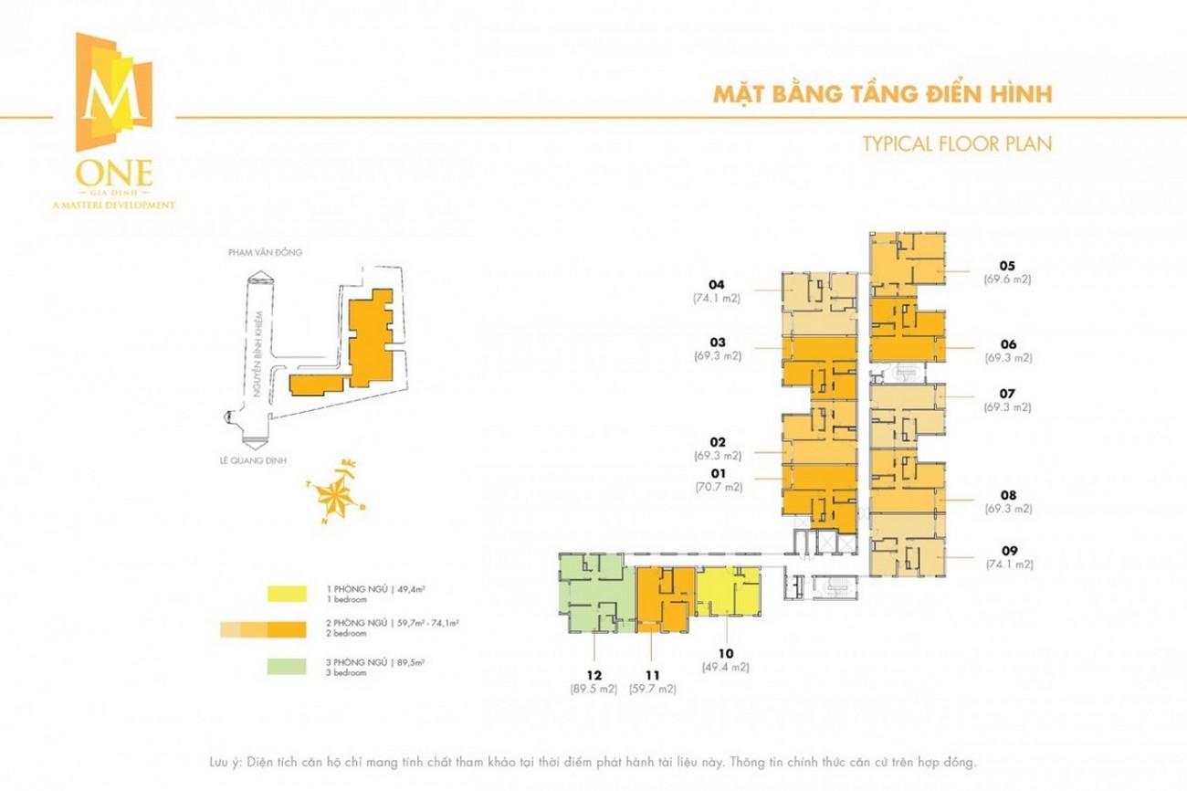 Mặt bằng dự án căn hộ chung cư M One Gia Định Quận Gò Vấp Đường Nguyễn Bỉnh Khiêm chủ đầu tư Masterise Homes