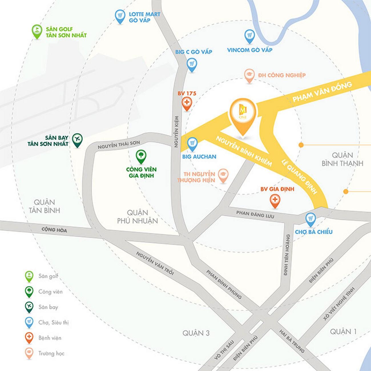 Vị trí địa chỉ dự án căn hộ chung cư M One Gia Định Quận Gò Vấp Đường Nguyễn Bỉnh Khiêm chủ đầu tư Masterise Homes