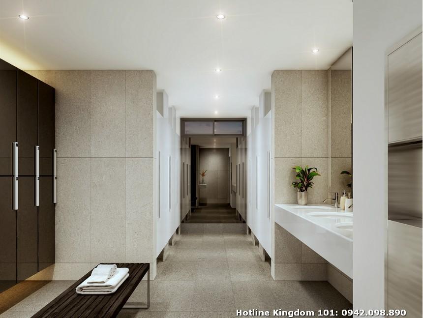 Phòng thay đồ và phòng tắm tầng 04 khu vực hồ bơi dự án căn hộ chung cư Kingdom 101 Quận 10