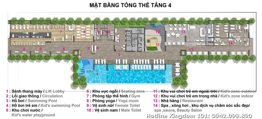 Mặt bằng tổng thể khu vực hồ bơi tầng 4 dự án căn hộ chung cư Kingdom 101 Quận 10 Tô Hiến Thành
