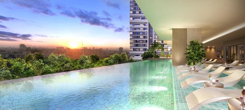 Hồ bơi phong cách Resort 5* rộng hơn 635m2 tại tầng 2 khu căn hộ Kingdom 101