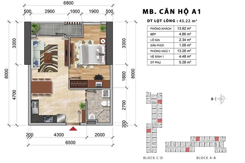 Thiết kế căn hộ chung cư Charmington Iris Quận 4 diện tích 45m2