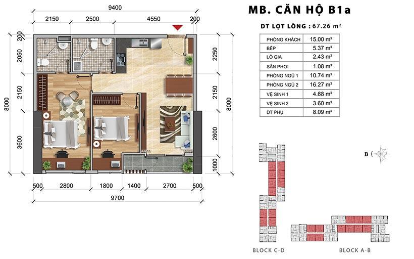 Thiết kế chi tiết căn hộ B1A thiết kế 2PN-2WC – Liên hệ báo giá căn hộ này  0942.098.890
