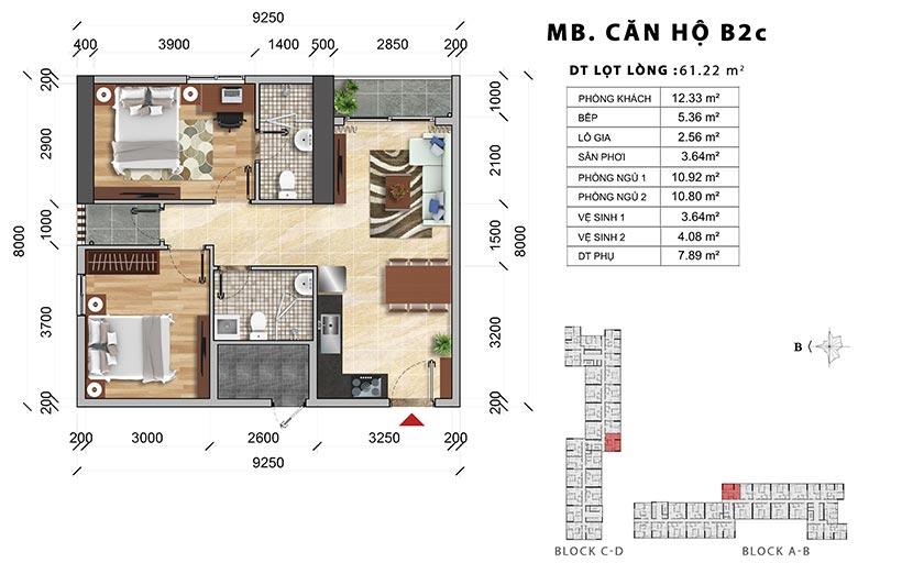 Thiết kế chi tiết căn hộ B2C thiết kế 2PN-2WC – Liên hệ báo giá căn hộ này 0942.098.890