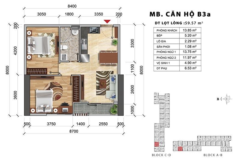 Thiết kế chi tiết căn hộ B3A. Căn hộ A1 thiết kế 2 PN-1WC – Liên hệ báo giá căn hộ này 0942.098.890