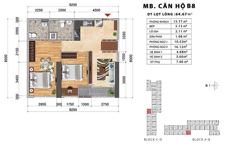 Thiết kế chi tiết căn hộ B8 thiết kế 2PN-2WC – Liên hệ báo giá căn hộ này  0942.098.890