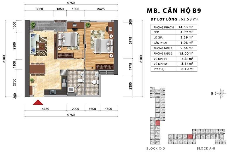 Thiết kế chi tiết căn hộ B9 thiết kế 2PN-2WC – Liên hệ báo giá căn hộ này  0942.098.890