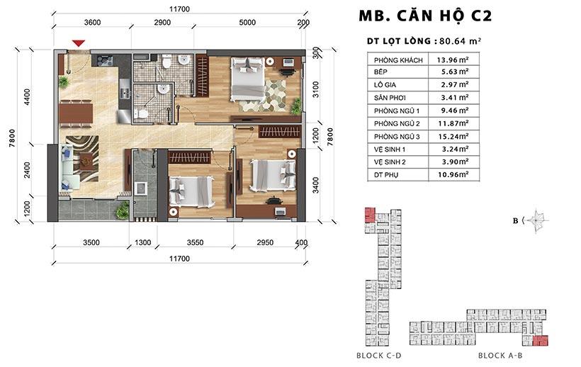 Thiết kế chi tiết căn hộ Charmington diện tích 80.64m2 bán