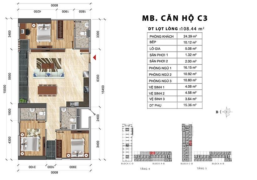 Thiết kế chi tiết căn hộ C3 thiết kế 3PN-2WC – Liên hệ báo giá căn hộ này  0942.098.890