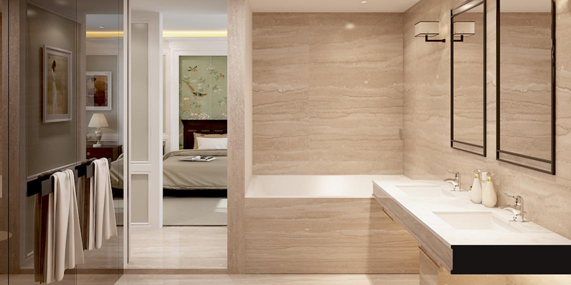 Thiết kế khu vực vệ sinh phòng phòng khách biệt thự Snetruria An Phú