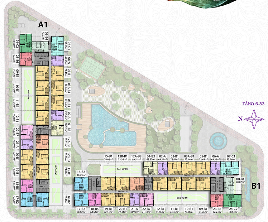 Mặt bằng căn hộ dự án chung cư Charmington Iris Quận 4 thanh toán trước 30%