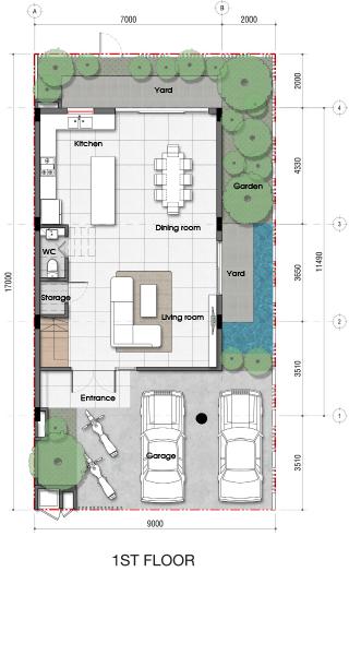 Thiết kế tầng 01 dự án biệt thự Senturia An Phú Quận 2