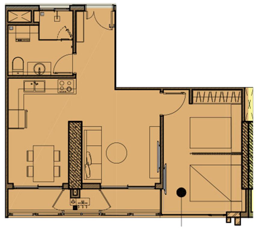 Thiết kế căn hộ diện tích 46m2 dự án căn hộ Kingdom 101 Quận 10 - Liên hệ mua căn hộ này 0942.098.890