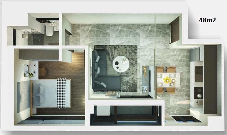 Mẫu thiết kế căn hộ 48m2 dự án căn hộ Kingdom 101 Quận 10