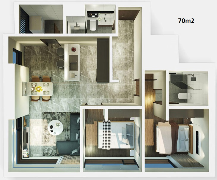 Mẫu thiết kế căn hộ 70m2 dự án căn hộ Kingdom 101 Quận 10 - Liên hệ mua căn hộ này 0942.098.890