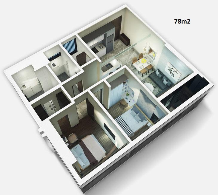 Mẫu thiết kế căn hộ 78m2 dự án căn hộ Kingdom 101 Quận 10 - Liên hệ mua căn hộ này 0942.098.890