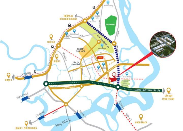 Vị trí dự án đất nền nhà phố liền kế Rio Botino Quận 9