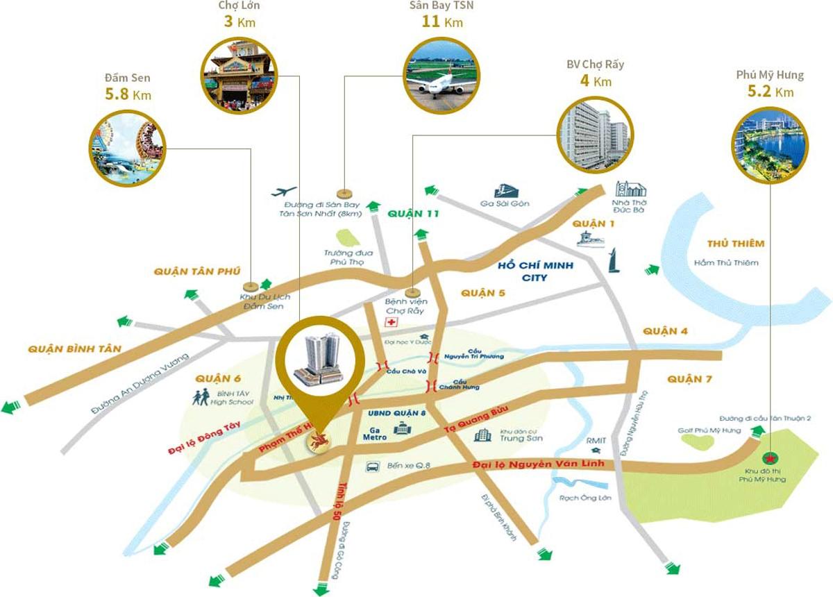 Vị trí dự án căn hộ chung cư Kingdom 101 tọa lạc tại 334 Tô Hiến Thành, phường 14, Quận 10, TPHCM