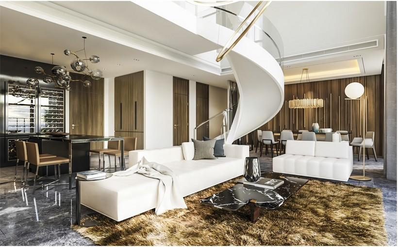 Thiết kế căn hộ Duplex Kingdom 101 Quận 10, căn hộ được thiết kế trần cao 6m, không gia từ phòng khách có tầm nhìn trọn tiện ích dự án Kingdom 101