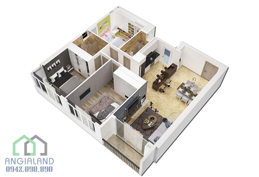 Mặt bằng thiết kế căn hộ 3 phòng ngủ dự án Florita Quận 7