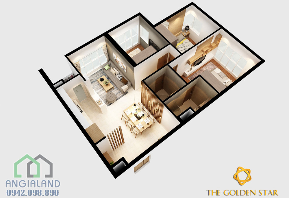 Nhà mẫu căn hộ 3 phòng ngủ Golden Star Quận 7