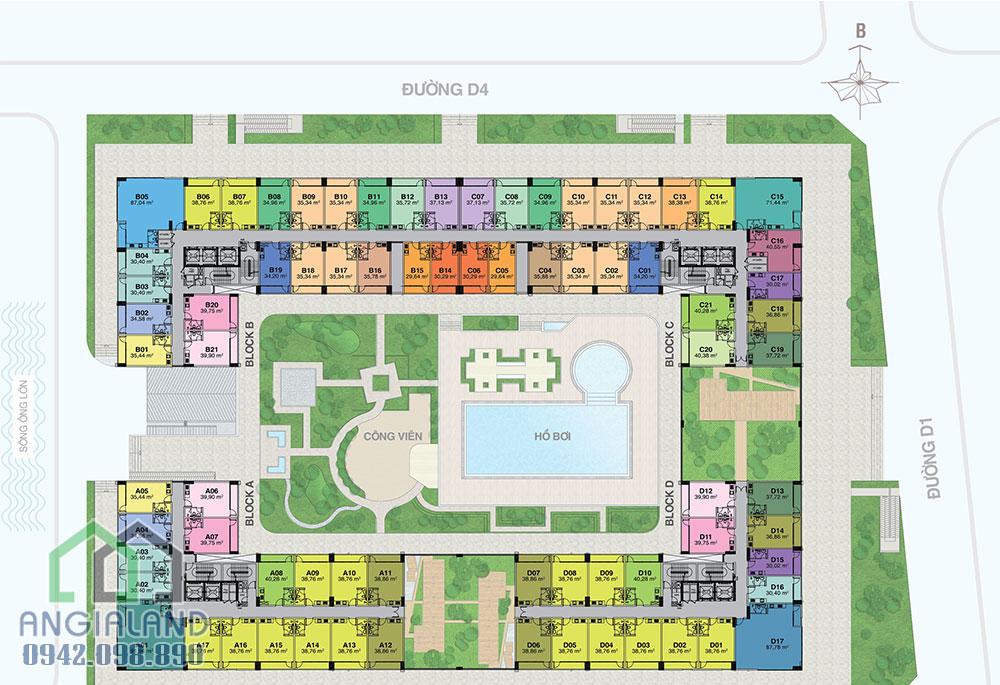 Mặt bằng thiết kế dự án căn hộ officetel Florita Quận 7