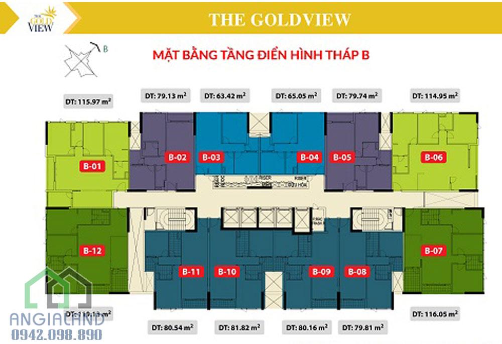 Mặt bằng điển hình tháp B căn hộ Gold View