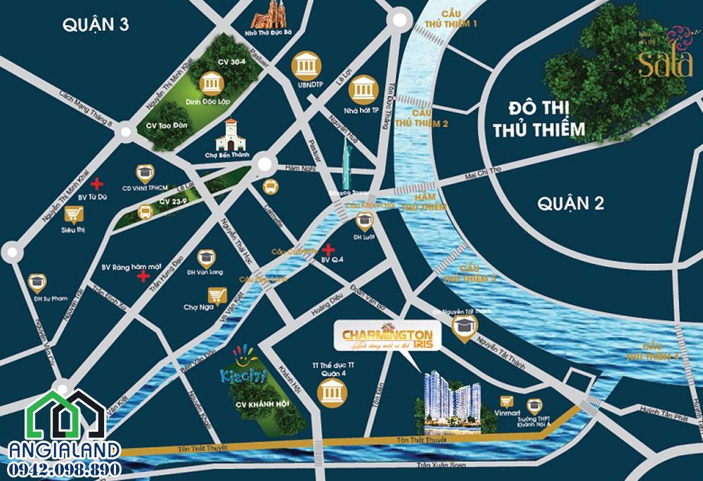 Địa chỉ dự án căn hộ Charmington Iris Quận 4 tọa lạc tại 76 Tôn Thất Thuyết, Phường 16, Quận 4