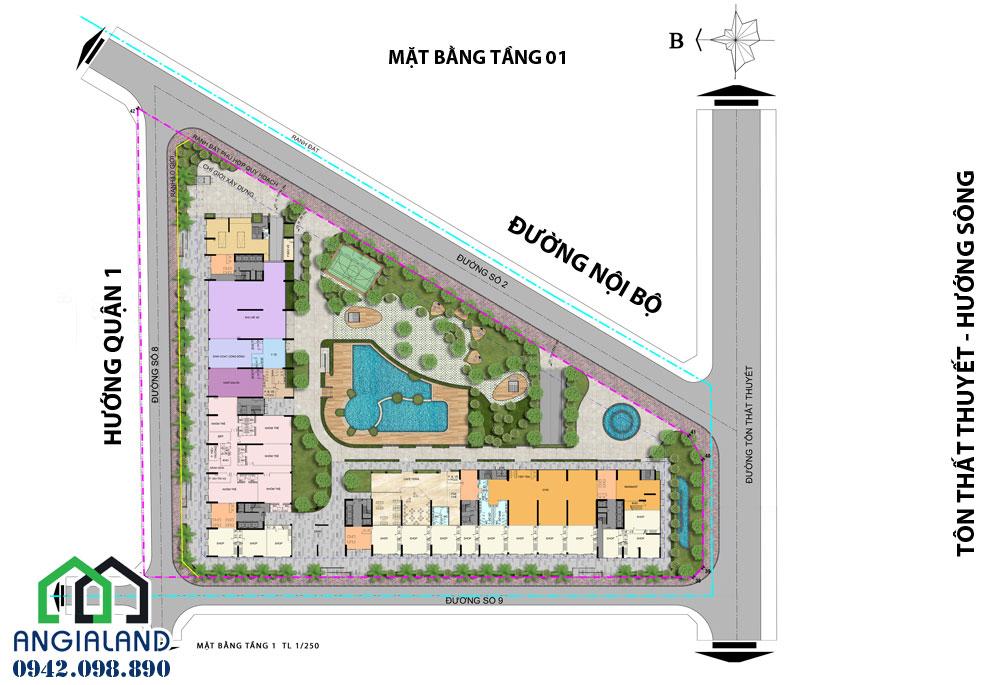 Mặt bằng thiết kế dự án Charmington Iris Quận 4