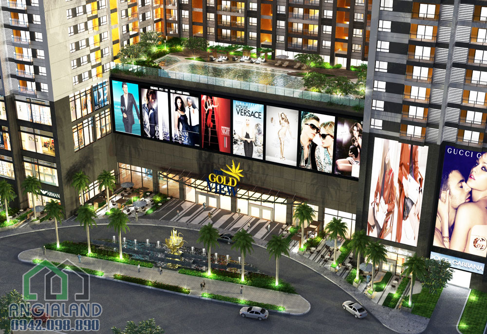 Sảnh chờ trung tâm thương mại căn hộ Gold View Quận 4