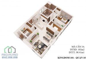 Bán căn hộ Kingdom 101 Mã căn A-02-05 diện tích 102m2 3PN-2WC căn góc hướng TN-ĐN