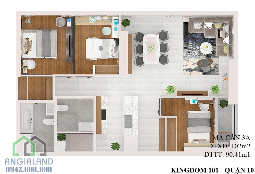 Thiết kế căn hộ Kingdom 101 diện tích 102m2 - Mã căn hộ A-02-05