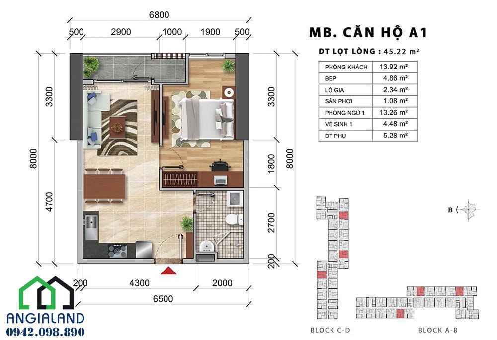 Mặt bằng thiết kế căn hộ Charmington Iris Quận 4
