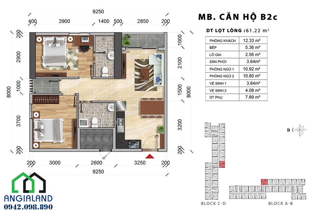 Thiết kế căn hộ Charmington Iris 2PN-2WC diện tích 61m2